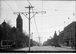c. 1927 on Spadina Ave., looking south to College St.