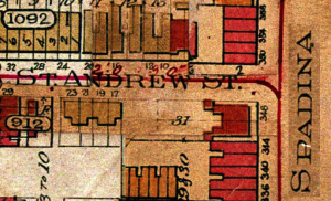 352 Spadina Ave. 1903 Map: Clip from Plate 23 of Goad's Fire Insurance Plans