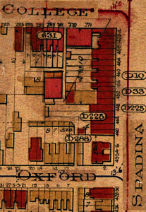 460 Spadina Ave. 1903 Map: Clip from Plate 23 of Goads Fire Insurance Plans