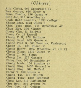 City Directory of Chinese Laundries Source: Toronto Archives